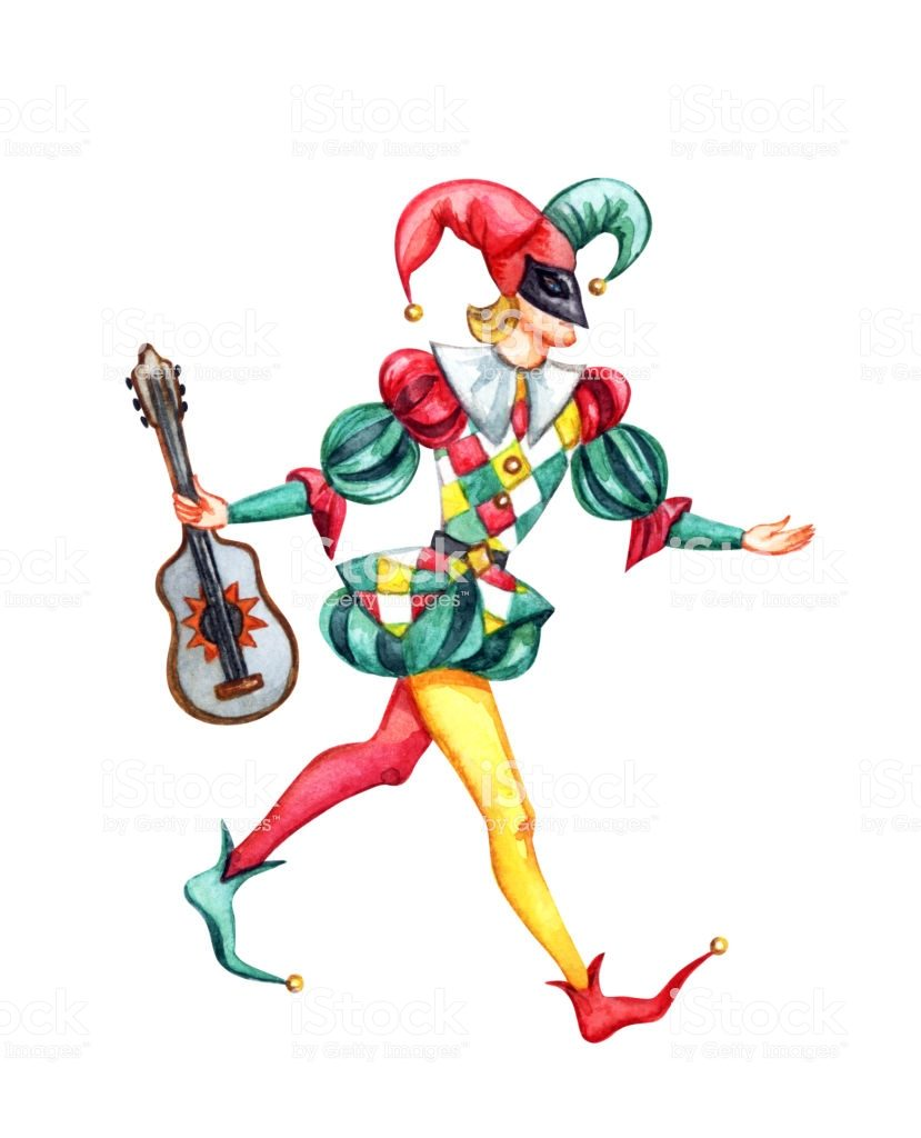 Harlequin with Guitar, the character of the Italian commedia dell'arte, watercolor painting on white background, isolated with clipping path.