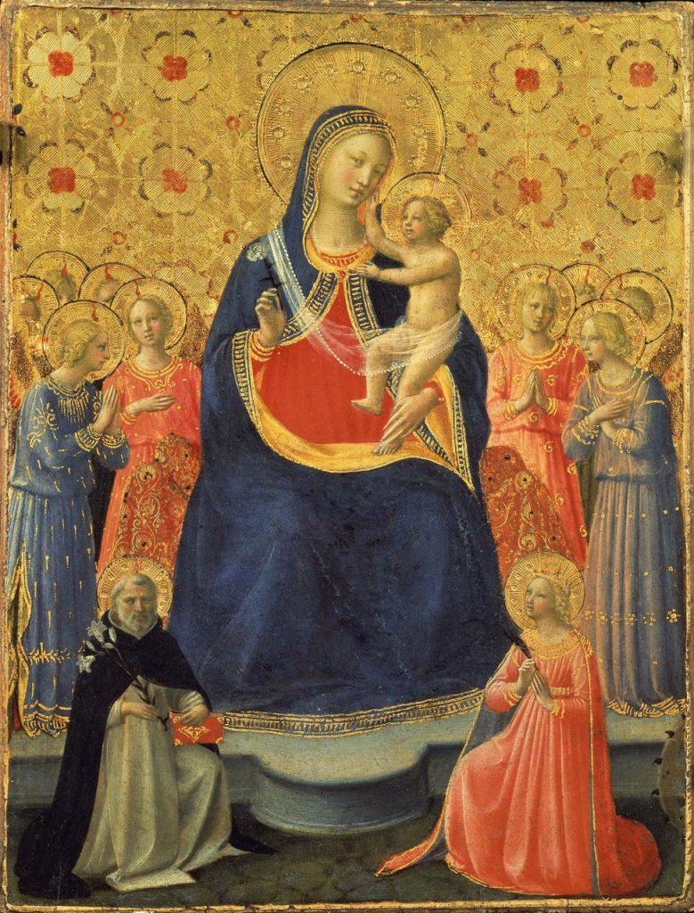 Fra Angelico, Virgen con Niño entre Santo Domingo y Santa Catalina de Alejandría (1435)
