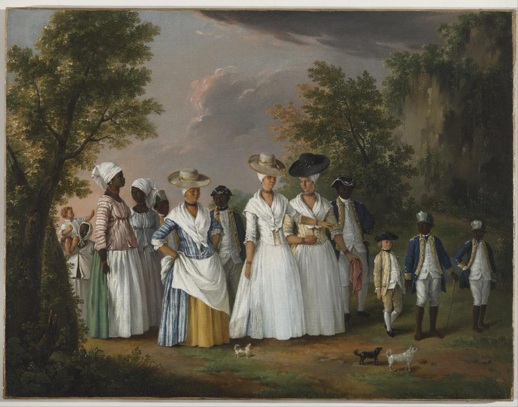 Mujeres negras libres con sus hijos y sirvientes en un paisaje