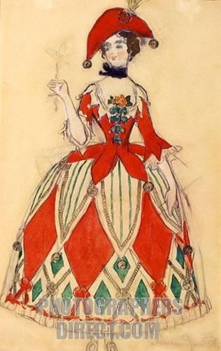 Colombine. Costume design for the ballet Carnival by R. Schumann by Benois, Alexander Nikolayevich (1870 - 1960), Russia, . State Art Museum, Nizhny Novgorod, watercolour and ink on paper, painting.